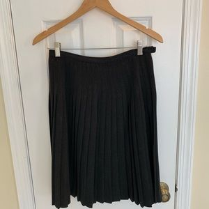 Dark grey wool blend stitch pleated skirt